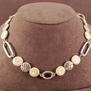 Brighton Pebble Coin Pearl Silver Link Necklace